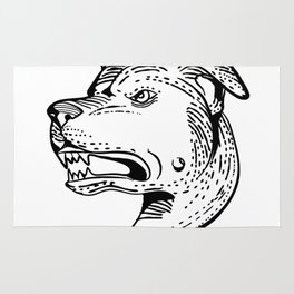 American Staffordshire Bull Terrier Etching Black and White Rug