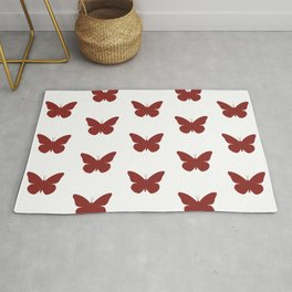 Ruby Red Butterfly Pattern and Print Rug