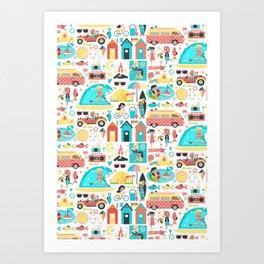 Surfer Girls Art Print