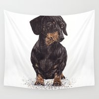 dachshund Wall Tapestries featuring Dog-Dachshund by Natt
