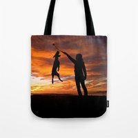 workout Tote Bags featuring Sunset Workout by Sandy Broenimann