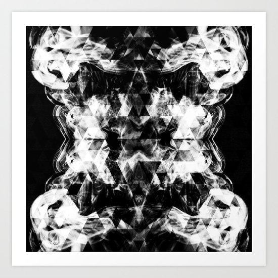 Electrifying black and white sparkly triangle flames Art Print