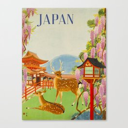 Vintage Mid Century Modern Japan Travel Poster Deer Red Pagoda Wisteria Garden Canvas Print