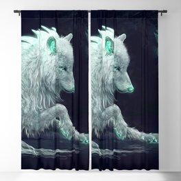 Gorgeous Fairytale Albino Canine Creature In Dungeon Magic Luminous Eyes UHD Blackout Curtain