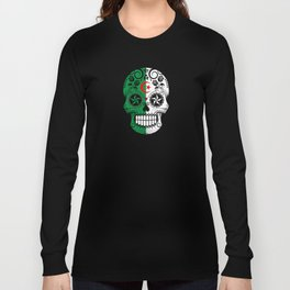 Sugar Skull with Roses and Flag of Algeria Long Sleeve T-shirt