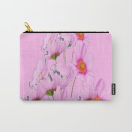 PASTEL FUCHSIA PINK COSMOS FLOWERS  ON PINK COLOR Carry-All Pouch