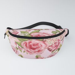 Country Rose Pink Floral Fanny Pack