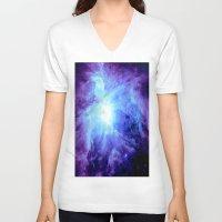 nebula V-neck T-shirts featuring NEBula Purple Periwinkle Blue by GalaxyDreams