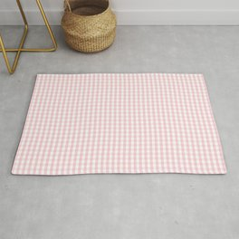 Small White and Light Millennial Pink Pastel Color Gingham Check Rug