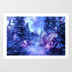 Mystical Snow Forest Art Print
