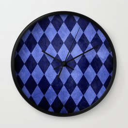 Blue Harlequin Grunge Wall Clock