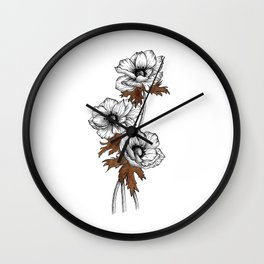 Anemone with ink Wall Clock
