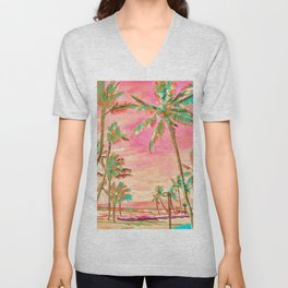 Beach at Mauna Lani Bay, Hawaii Peach Unisex V-Neck