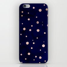 Navy blue watercolor chic rose gold modern confetti polka dots pattern iPhone & iPod Skin