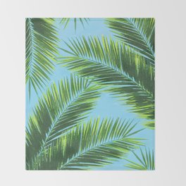 Tropical Palm Leaf Pattern 2 - Tropical Wall Art - Summer Vibes - Modern, Minimal - Green, Blue Throw Blanket