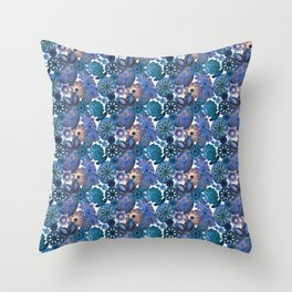Ernst Haeckel Blue Sea Squirts Tossed Throw Pillow