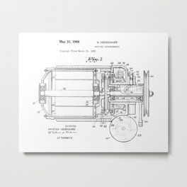 Driving Arrangements for Sewing Machine Vintage Patent Hand Drawing Metal Print