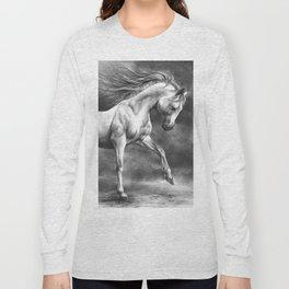 Running white horse - equine art Long Sleeve T-shirt
