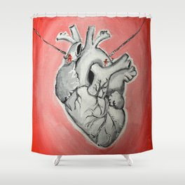 Hooked Heart Shower Curtain