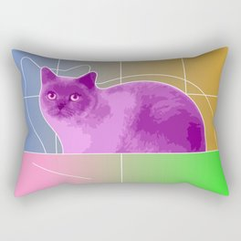 Neon Purple Cat on Colorful Background Rectangular Pillow