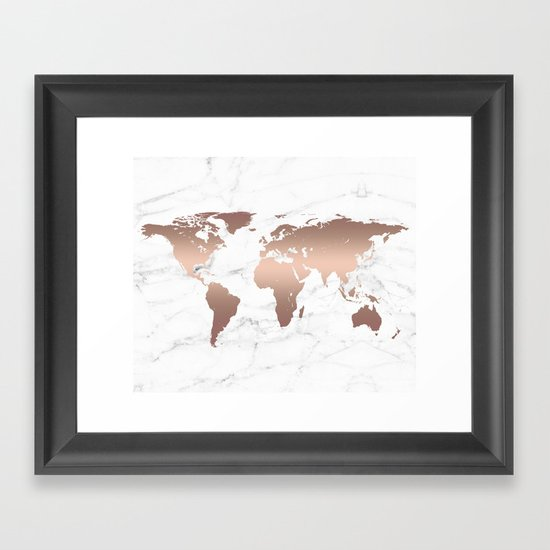 Rose Gold Metallic World Map on Marble by histrionicole
