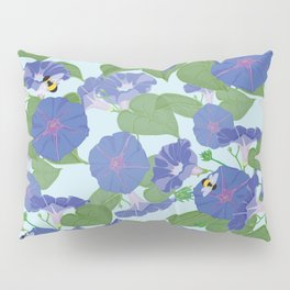 Glory Bee - Vintage Floral Morning Glories and Bumble Bees Pillow Sham