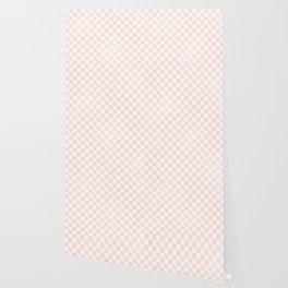Blush Pink Coral Checkers Wallpaper