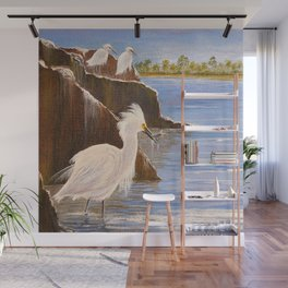 Snowy Egrets - The Expert Fisherman Wall Mural