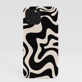 Retro Liquid Swirl Abstract in Black and Almond Cream  iPhone Case