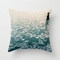 Lady in swimming pool Throw Pillow