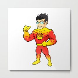 Super hero fireman cartoon Metal Print