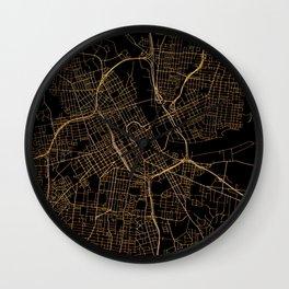 Black and gold Nashville map Wall Clock
