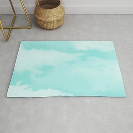 Turquoise white teal modern clouds pattern Rug