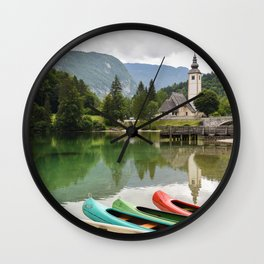 Lake Bohinj Slovenia Canoes and Church Reflection Wall Clock