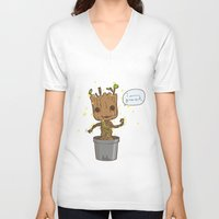 groot V-neck T-shirts featuring Groot by Lalu - Laura Vargas