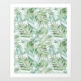 Watercolor palm leaves pattern Kunstdrucke