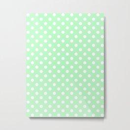 Small Polka Dots - White on Mint Green Metal Print