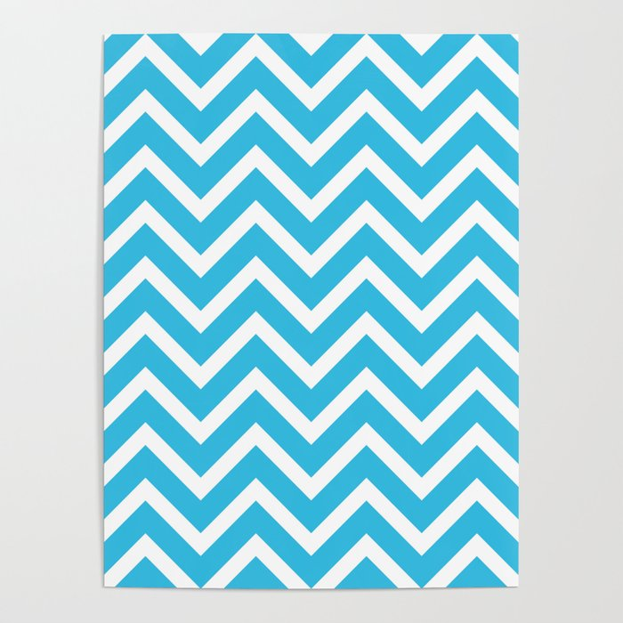 Sky Blue White Zig Zag Pattern Design Poster By Ohaniki