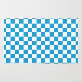 Oktoberfest Bavarian Large Blue and White Checkerboard Rug