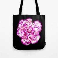 8bit Tote Bags featuring 8BIT flower by Alfredo Lietor