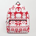 Red Scandinavian Penguin Holiday Design by oursunnycdays