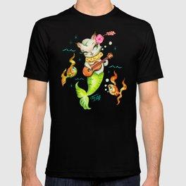 Mermaid Cat with Ukulele T-shirt
