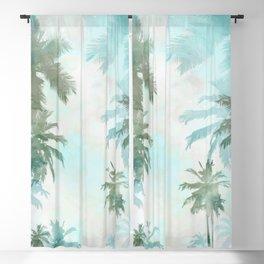 Aqua Blue Watercolor Palm Trees Blackout Curtain