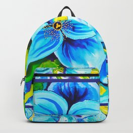 Blue Poppies 3 with Border Backpack