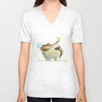 bath V-neck T-shirts featuring bath by Wiebke Rauers