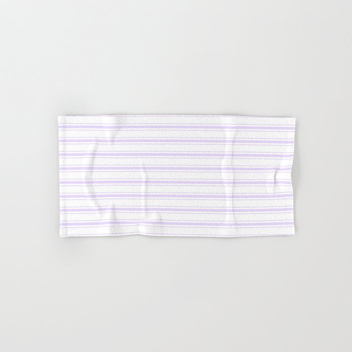 Chalky Pale Lilac Pastel and White Wide Mattress Ticking Stripes Hand & Bath Towel