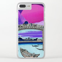Synthwave Space: 36 views of mount Fuji #1 Clear iPhone Case
