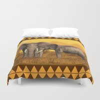 elephants Duvet Covers featuring Elephants by Moonlake Designs