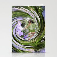 pixies Stationery Cards featuring Green Flower fairy by Just Kidding