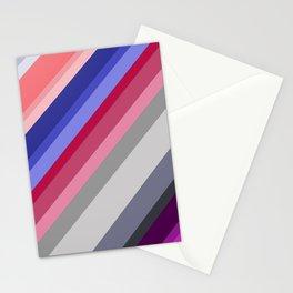 grey blue pink purple stripes Stationery Cards